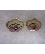 Vintage Laurel Burch Simple White Lavender Enamel Flower Post Earrings - $22.49