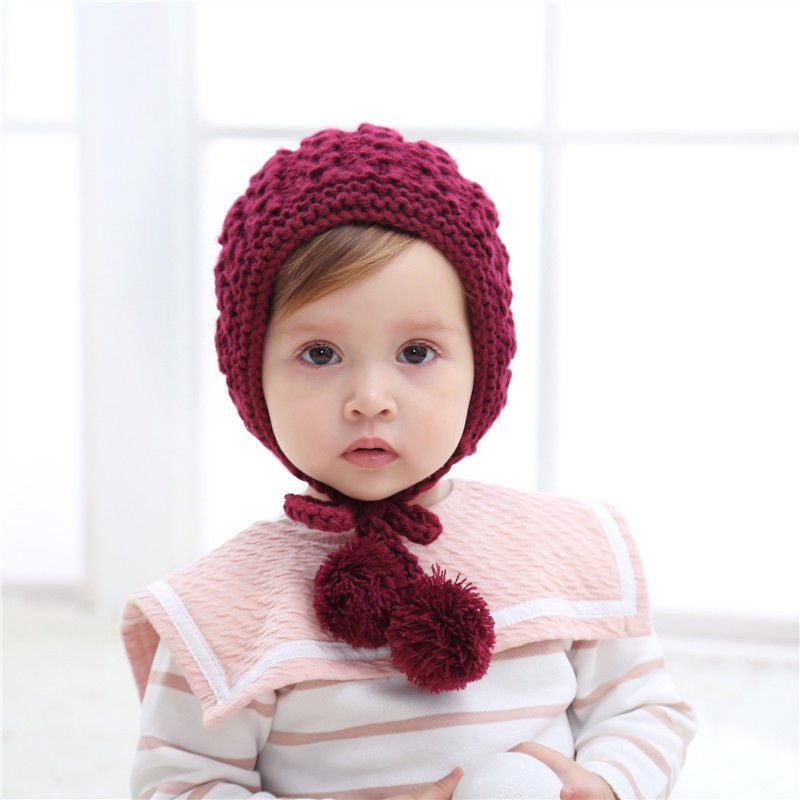 Infant Baby Girl Kids Toddler Knitted Woolen Lace Hat Cap Beanie Bonnet Winter