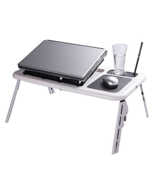 Folding Laptop Desk Adjustable USB Notebook PC Table Stand Workstation F... - £44.46 GBP