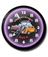 Route 66 Hot Rod Automobile Neon Clock Hand Made USA 20 Inch Black Purple - $277.08