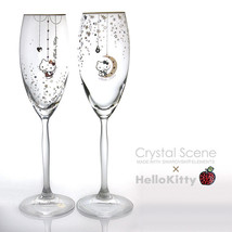 Hello Kitty Pair Champagne Glass Swarovski Sanrio Official Hand  From Ja... - $439.97