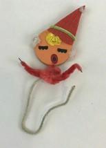 Vintage Pipe Cleaner Chenille Christmas Ornament Tie On Felt Girl Hat Japan - $14.84