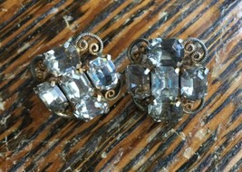 Vintage Hobe Sterling Filigree Octagon Soft Grey Diamonique Screw BK Ear... - $98.99