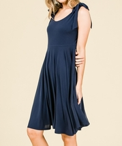 Navy Swing Dress, Navy Circle Skirt Dress, Sleeveless Dress with Empire Waist image 5