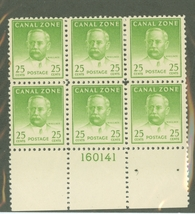 1948 John Wallace Block of 6 Canal Zone Postage Stamps Catalog 140a MNH