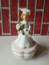 Schmid music box porcelain GRADUATE girl in gown & cap Japan Used - $9.70