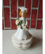Schmid music box porcelain GRADUATE girl in gown & cap Japan Used - $9.70
