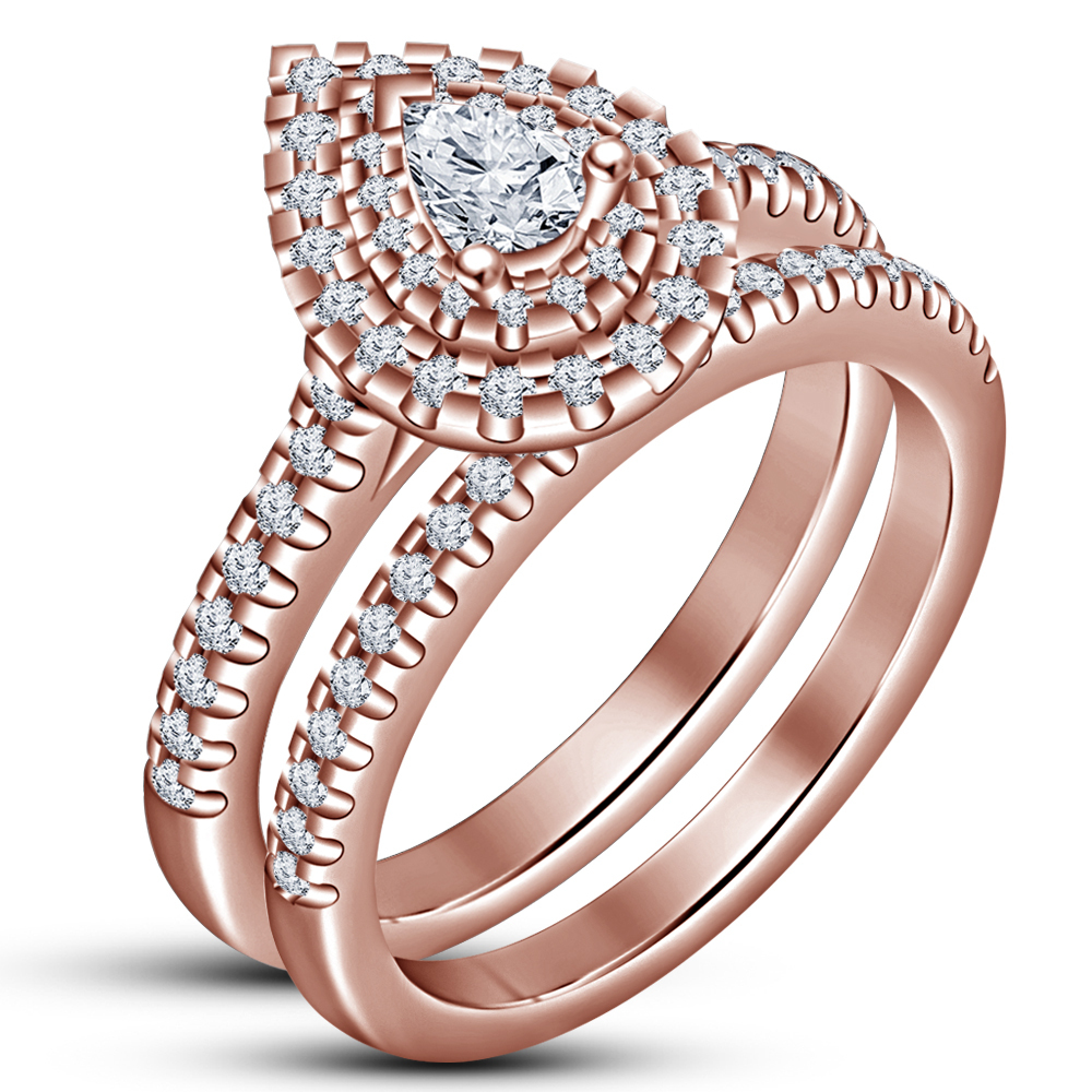 14k Rose Gold Finish 925 Sterling Solid Silver Pear Cut Diamond Bridal Ring Set - $94.99