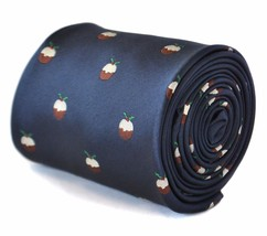 Frederick Thomas Men's navy blue tie with christmas pudding design FT2111
