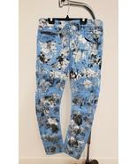 Rockstar Blue Denim Jeans for Men Distressed Moto Ribbing 6 Zipper Pocke... - $295.09