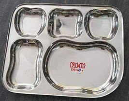 Traditional 8 Piece Stainless Steel 5 compartment Square Thali Plate Bho... - $64.34