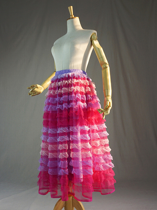 Dressromantic Tiered Tulle Skirts,Tiered Mesh Skirt, Party Skirt, Women Hot Pink