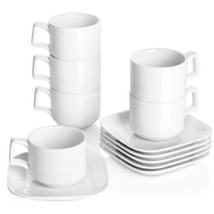 DOWAN Porcelain Coffee Cups with Square Saucers, 9 Ounce for Specialty C... - $37.62