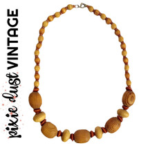 Wood Bead Necklace Vintage Wooden Beads Beaded Antique Retro 50s 60s 195... - $21.61