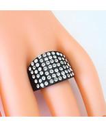 Black Acrylic Band Ring Multiple Sparkling Rows Of Swarovski Elements Cr... - $25.00