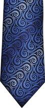 John Ashford Mens Fashion Neck Tie Mini Swirl Blue Black - $11.29