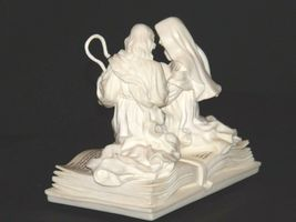 Pure White Music Box of Mary, Joseph and baby Jesus on a Bible AA19-1643 Vintag image 6