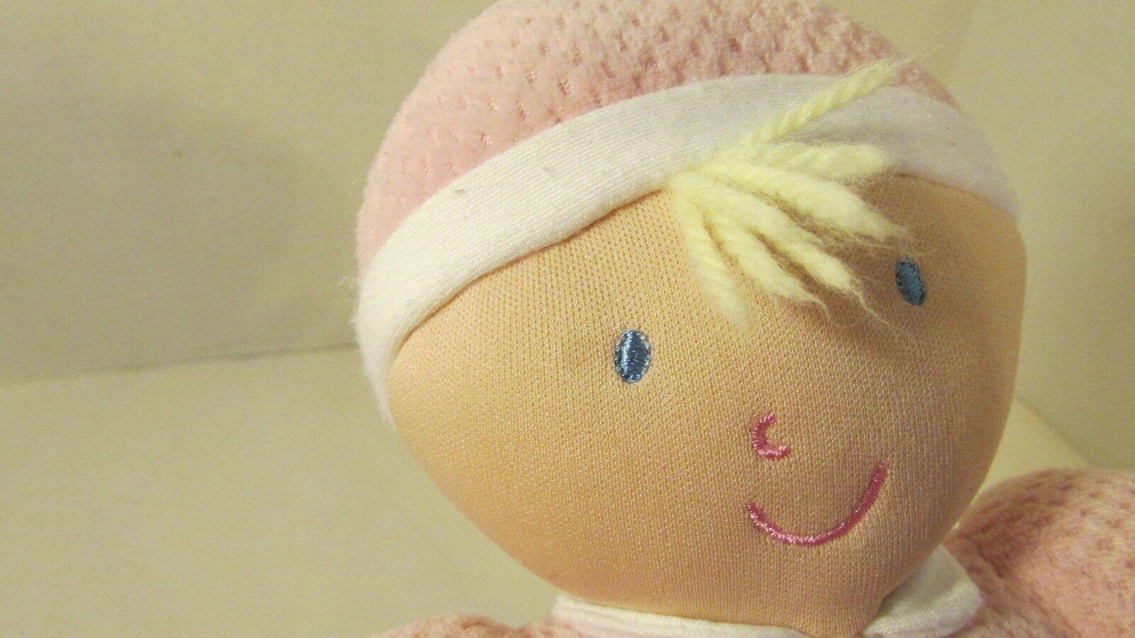 Kids Preferred doll baby soft plush pink thermal satin trim hat blonde hair image 3
