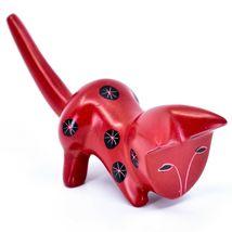 Tabaka Chigware Hand Carved Kisii Soapstone Red & Black Shelf Cat Figurine Kenya image 4