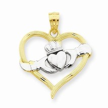 14K GOLD TWO-TONE CLADDAGH HEART CHARM / PENDANT -  0.9 GRAMS - £49.51 GBP