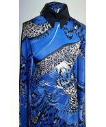 Royal Blue Black Beige Butterfly Animal Print Lycra Stretch Fabric 1 Yd ... - $40.00