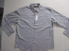 Van Heusen Men Shirt XL Gray Stripe Long Sleeve Cotton Polyester Spandex... - $17.35