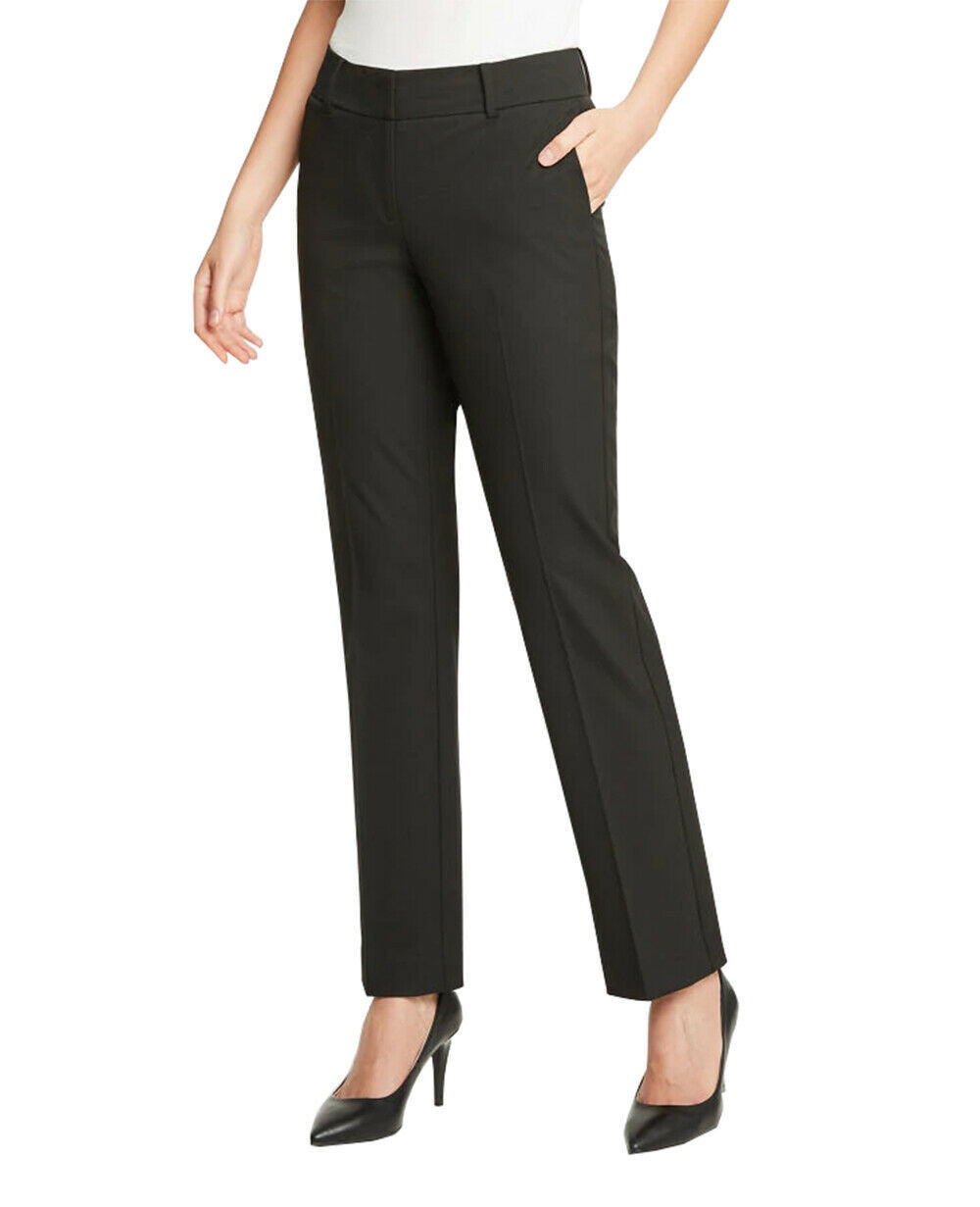 Primary image for Ann Taylor Women's Curvy Straight Leg Pants, Raven Black, Sz 8 (1406-3)