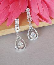 Arabian Nights Teardrop Crystal Cubic Zirconia Bridal Earrings Jewelry Elegant  - $17.62