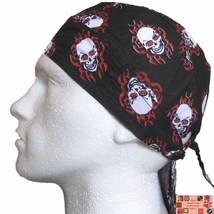 RED & BLACK Skull TRIBAL Flame FITTED TIED BANDANA Head Skull Cap DOO DO... - $5.46