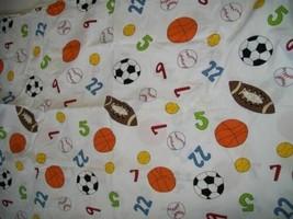 100% Cotton Twin Flat Sheet Single Bed Sport Ball Football Baseball Bask... - $5.44