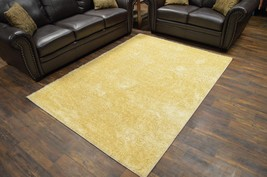 MONACO Polyester Shaggy Modern Contemporary 5x8 5x7 Rug Solid P1577 Light Beige - $99.00