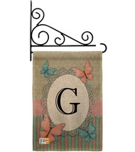 Butterflies G Initial Burlap - Impressions Decorative Metal Fansy Wall B... - $33.97