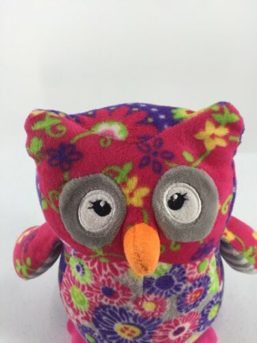 """Mary Meyer Plush Owl Purple Pink Floral Flowers Stuffed Toy 7"""" Tall image 4"""