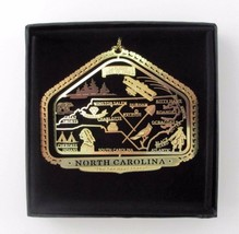 North Carolina State Landmarks Brass Ornament Black Leatherette Gift Box - $16.00