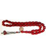 Prayer Beads Komboloi Pommegrenade Red Resin Faturan Like Vintage 1970's - $160.38