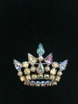Vintage B.DAVID Faux Pearl, Multi-Color&AB Crystal Rhinestone 2 CROWN Br... - $42.57