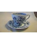 J & G Meakin England Teacup & Saucer Ironstone Blue Nordic Flat Tea Coff... - $22.28