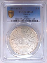 1897 ZS FZ MEXICO 8 REALES PCGS MS 62 SILVER PIECES OF EIGHT TREASURE COIN - $290.39