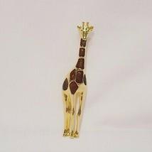 "Vintage Giraffe Brown Enamel Gold Tone Brooch Pin 2.75"" Liz Claiborne Signed LC - $14.99"