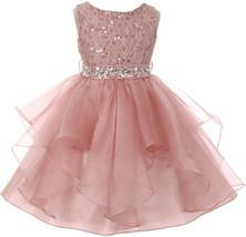 Flower Girl Dress Sequin Lace Top Ruffle Skirt Blush MBK 357 - $43.56+
