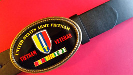 Vietnam Veteran -UNITED Stares ARMY- Epoxy Belt Buckle& Black Belt New - $22.72
