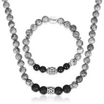 Womens Mens Bead Jewelry Sets Map Stone Black Glass Bead Necklace Bracel... - $26.00