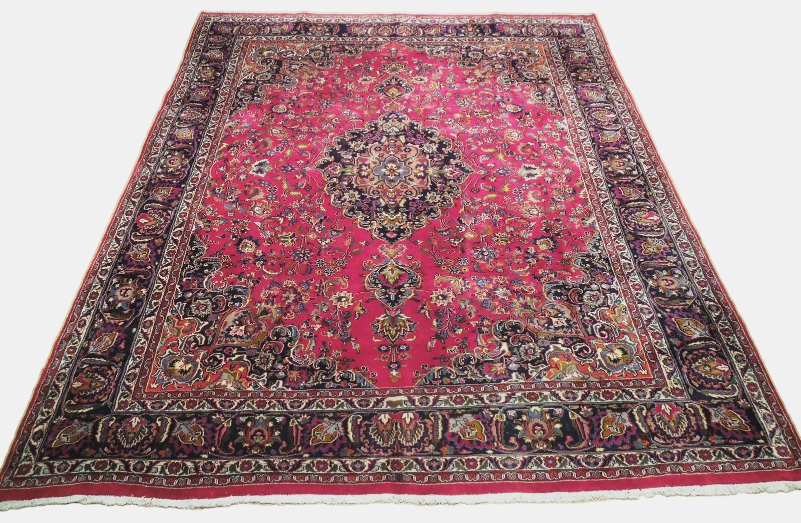 Red Wool Rug 10' x 12' Scarlet Vivid Original Traditional Persian Handmade Rug