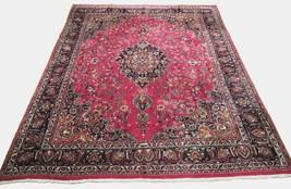 Red Wool Rug 10' x 12' Scarlet Vivid Original Traditional Persian Handmade Rug image 1