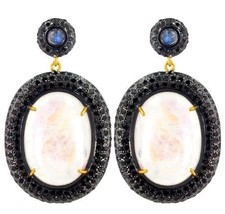 Black 5.65 Ct Diamond Pave Moonstone 14k Gold 925 Silver Dangle Earrings Jewelry - $1,172.05