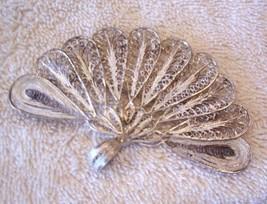 1 Antique 925 Silver Peacock-like Broach, Solid Filigree Jewelry Women C... - $26.77
