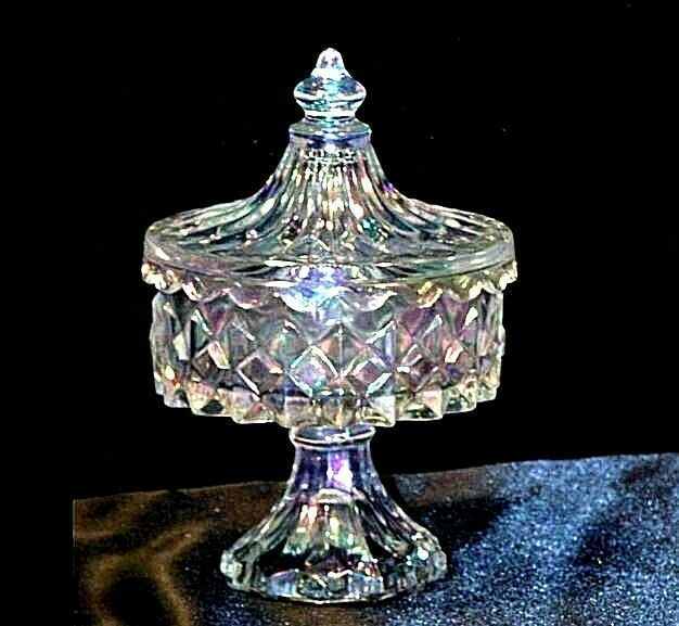 Vintage Heavy Etched square Glass Candy Dish with detailed designs AA19-LD11922