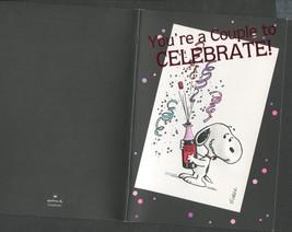 1 Vintage Greeting Card Celebrate Couple trademark Hallmark Snoopy Theme  - $3.00