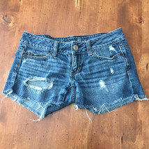 American Eagle Size 00 Cut Off Denim Shorts Distressed Jean Low Rise - $7.71
