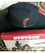 "Vintage Black John B Stetson 3X Beaver Felt ""Cowboy"" hat 7 1/4 Red Feather - $124.99"